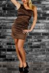dress satin asymmetric shoulder brown.