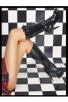 high heels boot patent leather black