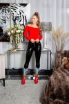 blouse knitted pullover strass red.