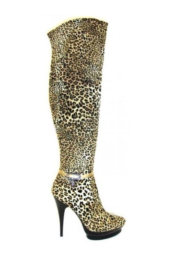 plateau suede knee boot leopard