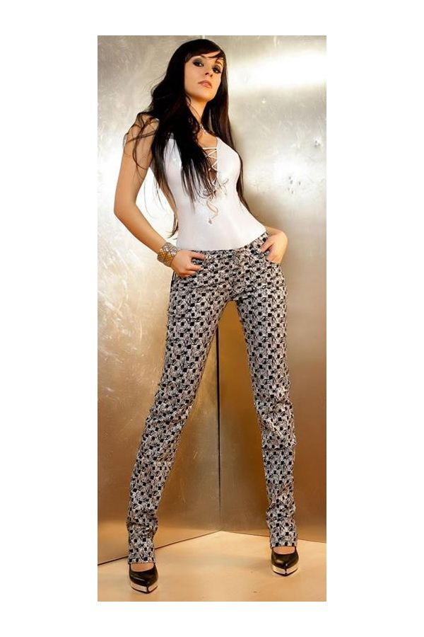 exclusive pants with five pockets decorated with silver design black