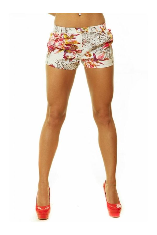 2S110 PANTS SHORTS FLORAL MULTICOLOUR FUCHSIA