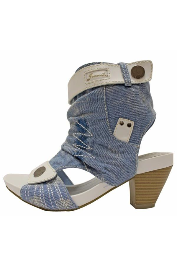 jean sandal decorated with white stitches white panels wooden heel light blue