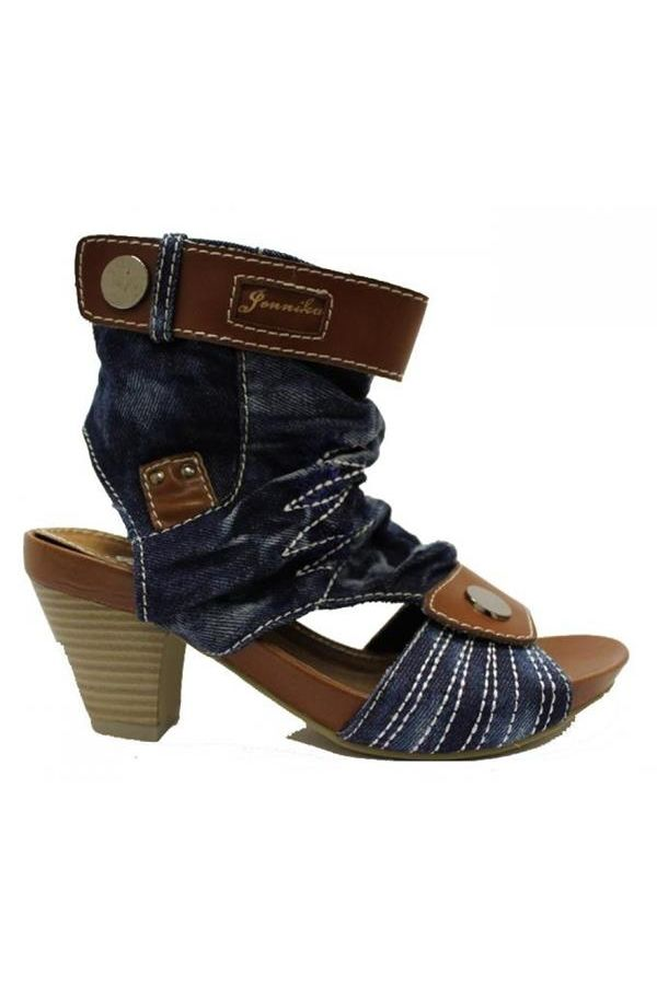 jean sandal decorated with white stitches brown panels wooden heel blue
