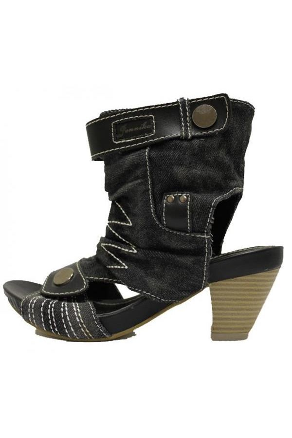jean sandal decorated with white stitches wooden heel black