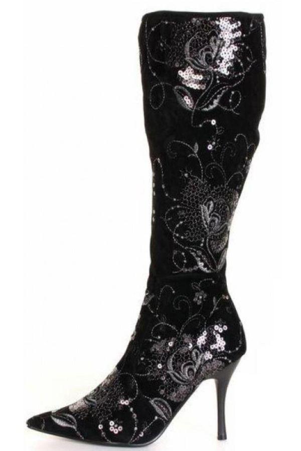 μυτερή σουέντ μπότα διακοσμημένη με πούλιες μαύρη