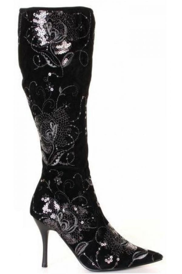 825021 BOOT SEQUINS SUEDE BLACK
