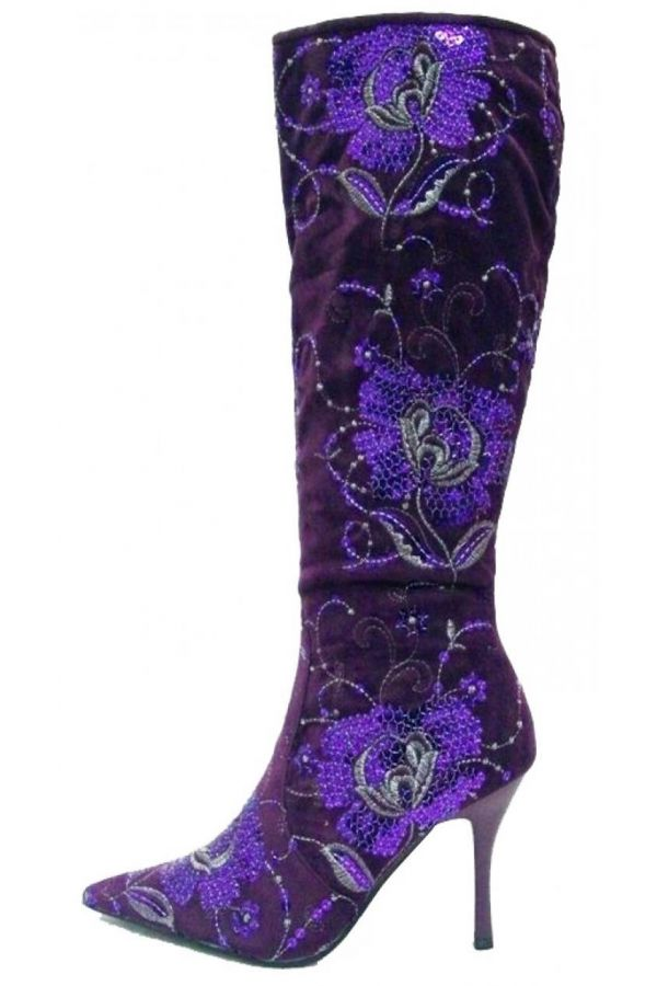 suede pointed boot decorated with sequins purple