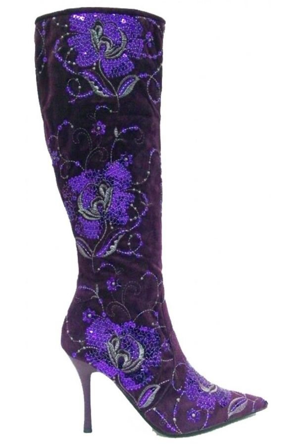 825021 BOOT SEQUINS SUEDE PURPLE