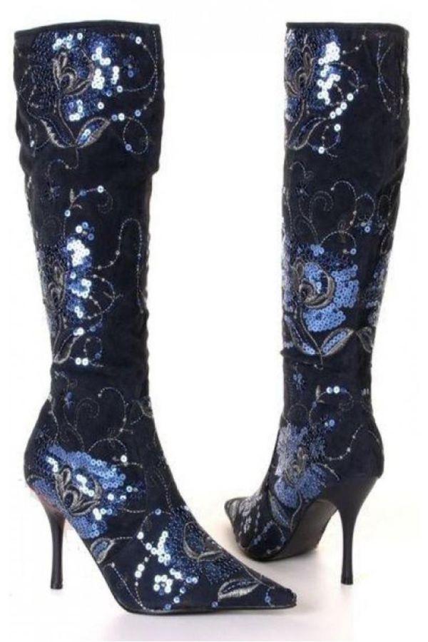 μυτερή σουέντ μπότα διακοσμημένη με πούλιες μπλε