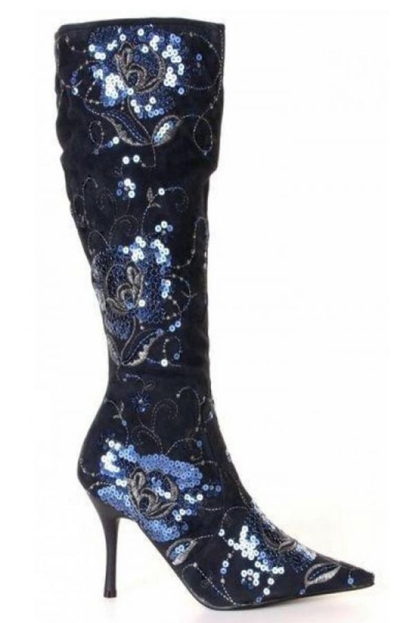 825021 BOOT SEQUINS SUEDE BLUE