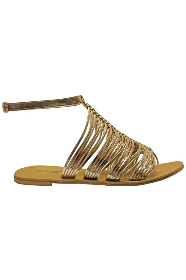 flat sandal with straps gold