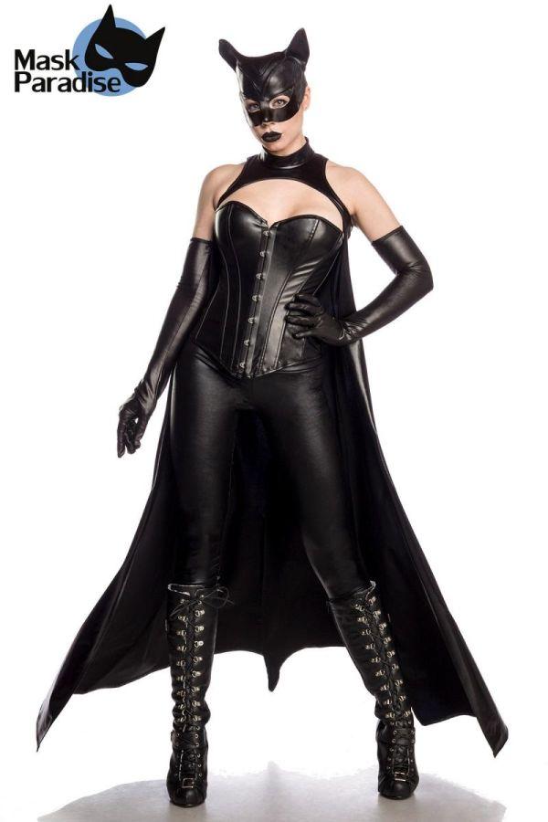 catwoman αποκριάτικη στολή σετ wetlook μαύρη.