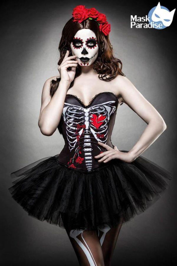 αποκριάτικη πολύχρωμη στολή Skull Senorita περιλαμβάνει κορσέ tutu φούστα κάλτσες και διακοσμητικό με τριαντάφυλλα για τα μαλλιά