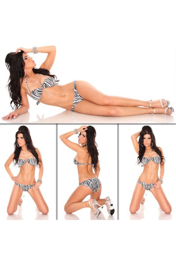 bikini swimwear decorated with chain zebra black white
