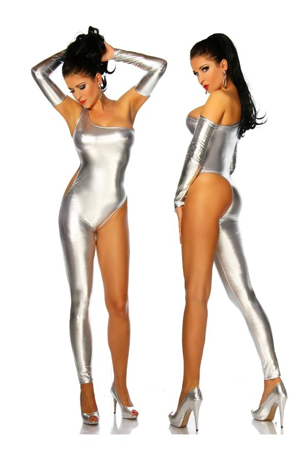 asymmetric wet look jumpsuit overall silver