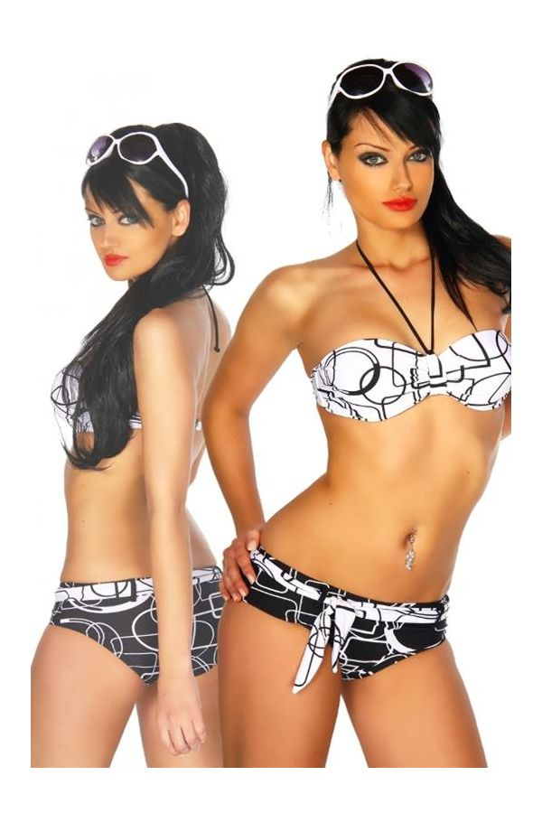 bicoloured neckholder swimwear bikini printed designs and belt black white