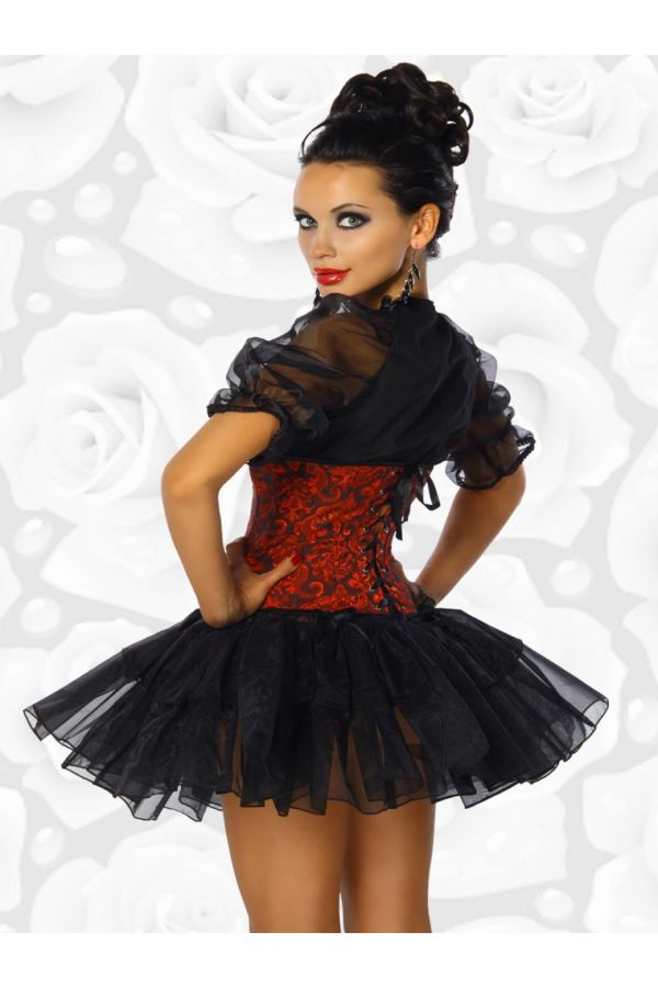 bolero with buttons short sleeves from tulle black