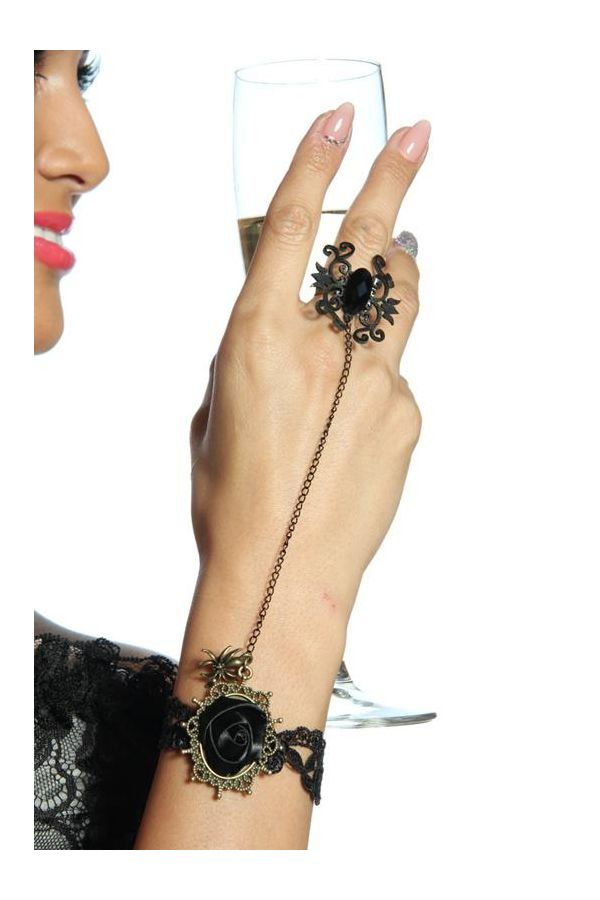 gothic hand jewelery bracelet with ring black