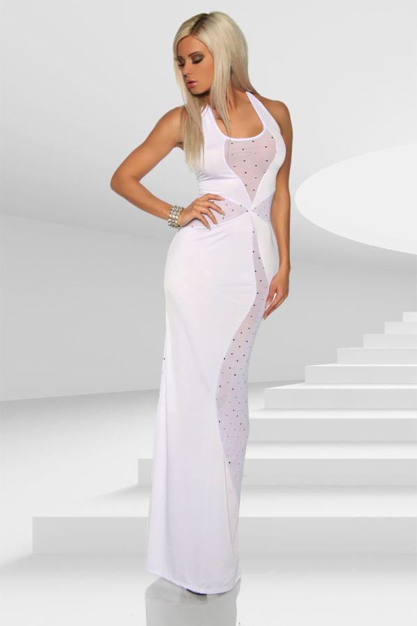 φόρεμα σέξι μακρύ διαφάνεια στρας άσπρο.