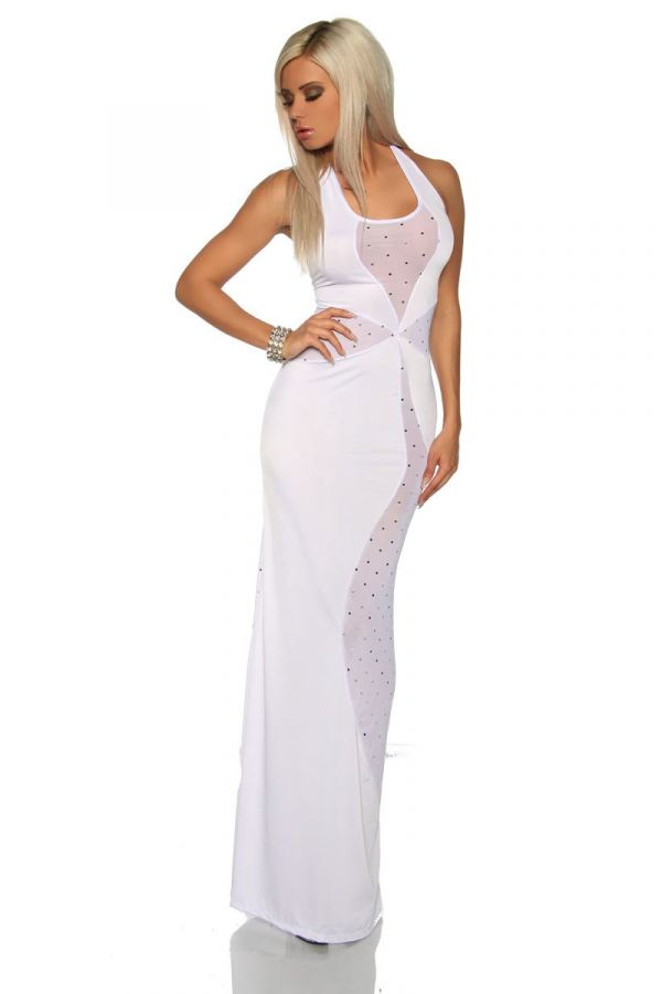 exclusive maxi dress decorated with strass and with transparent panel white
