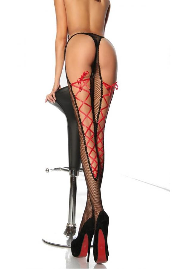 σέξι διχτυωτό μαύρο καλσόν δετό πίσω με κόκκινη σατέν κορδέλα