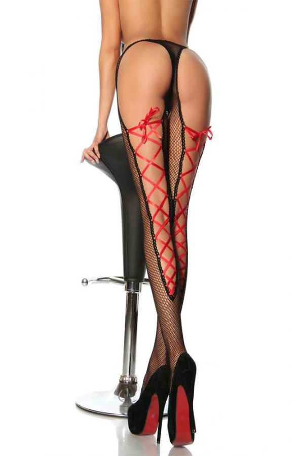 sexy mesh leggings with red satin lace to tie black