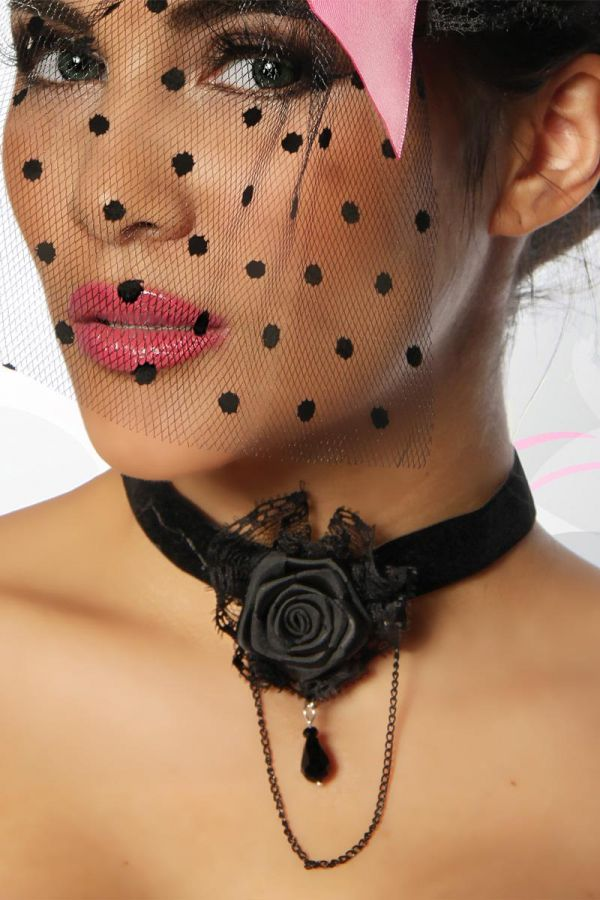 NECKLACE GOTHIC ROSE BLACK AT1412635