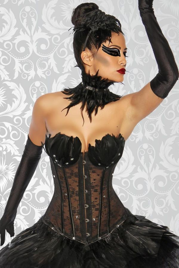 black swan exclusive set of corsage necklace and thong black