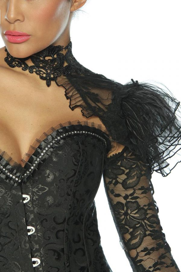 collar gothinc with one sleeve made from lace black