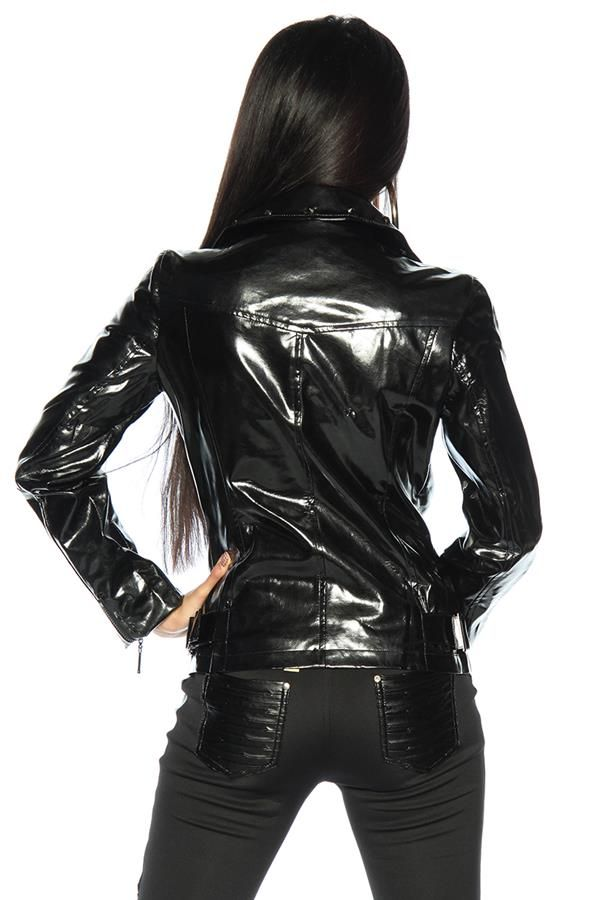 black-exclusive-leather-look-shiny-crossed-padded-jacket-with-studs