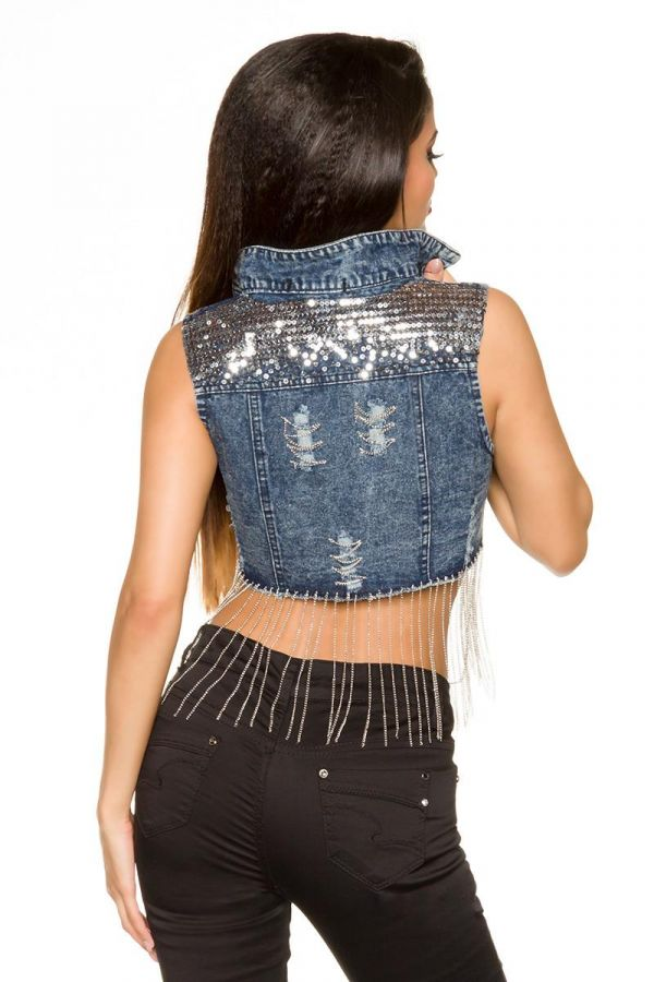 vest jean short decorated with chains and sequins blue