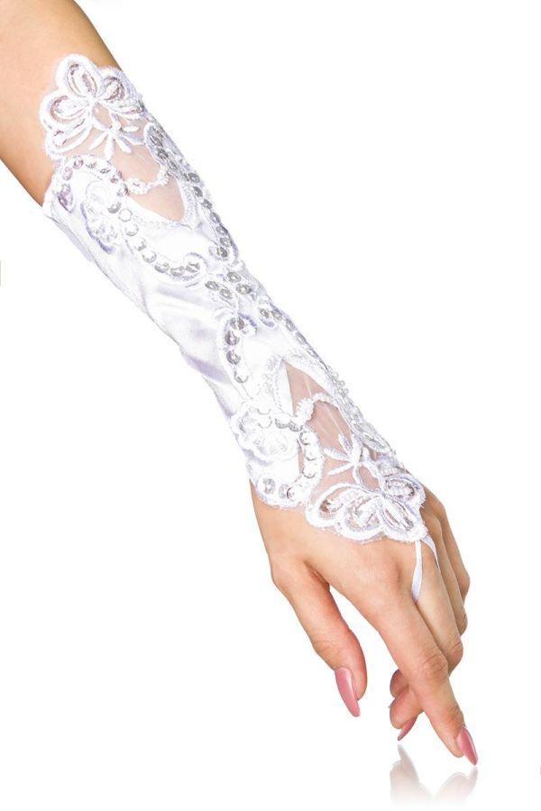 μακρυά αμπιγιέ γυναικεία γάντια διακοσμημένα με κέντημα και στρας άσπρα