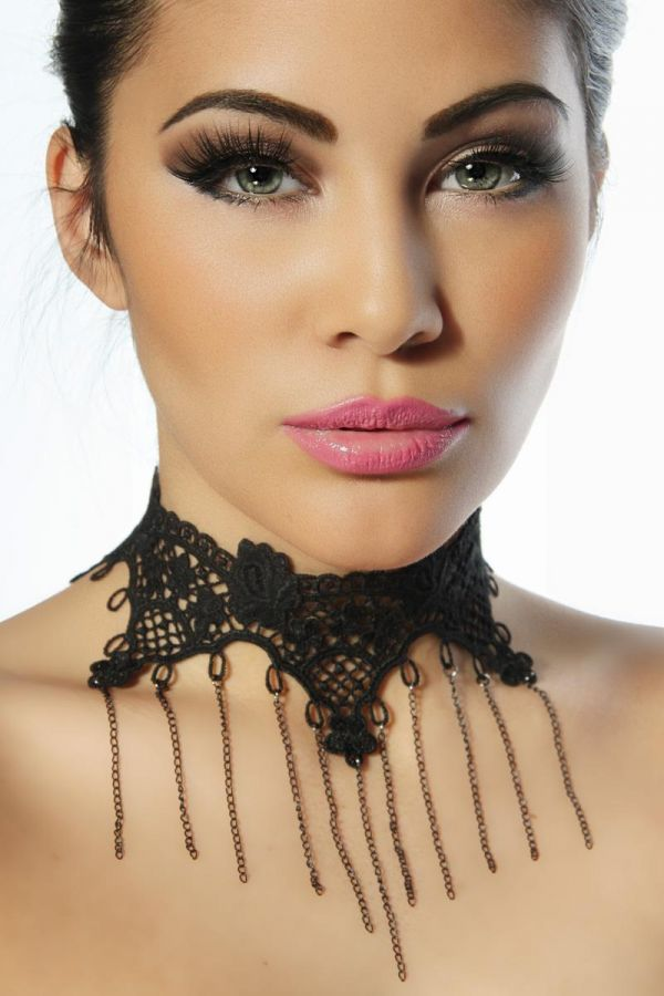 NECKLACE GOTHIC LACE BLACK AT1512734