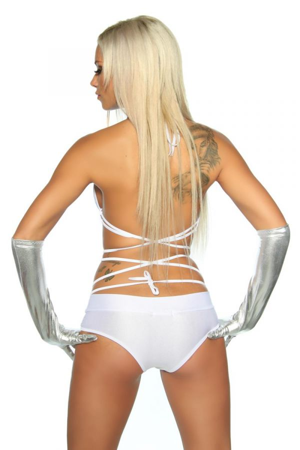 sexy gogo set constisting top and panty white
