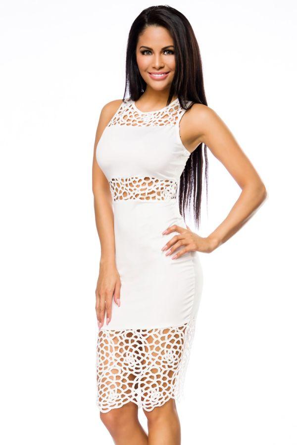 φόρεμα άσπρο midi pencil δαντέλα σέξι