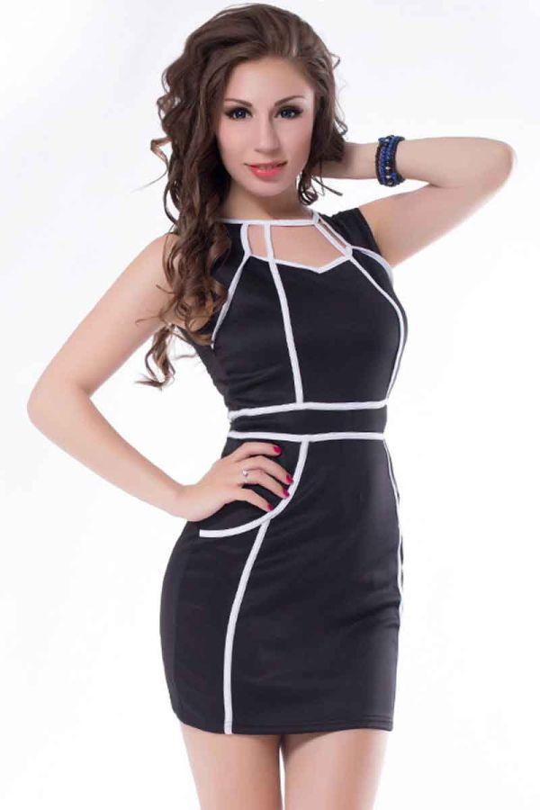 φόρεμα μαύρο μίνι αμάνικο patch άσπρες ραφές πίσω φερμουάρ