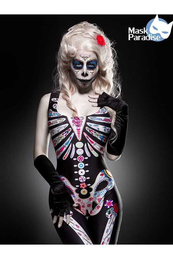 σετ κοστούμι Halloween ολόσωμο σκελετός τύπωμα κολλλητό γάντια μαύρο