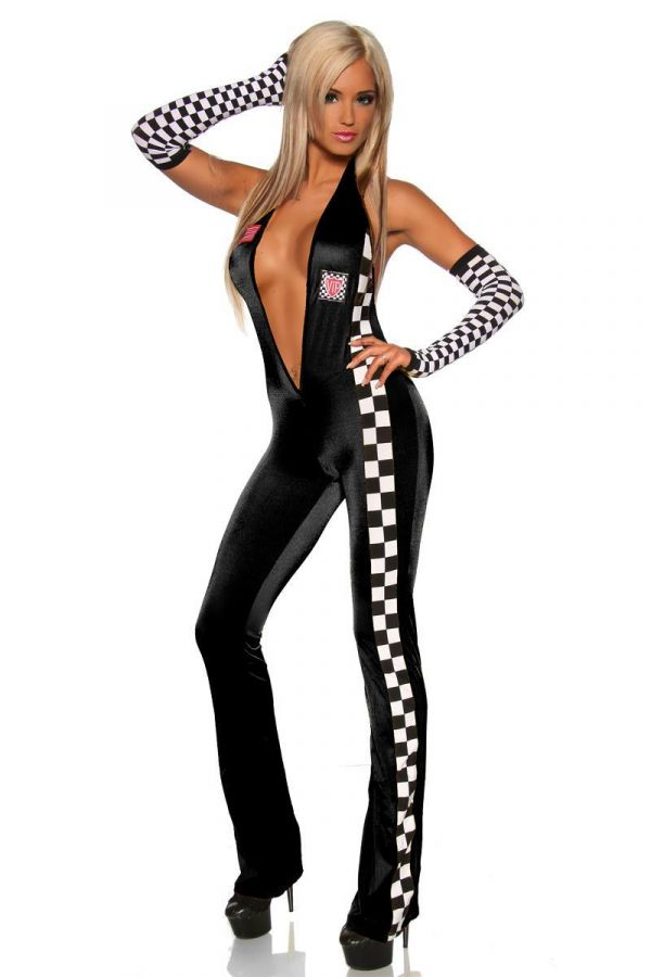 AT1610609 JUMPSUIT RACING BLACK WHITE