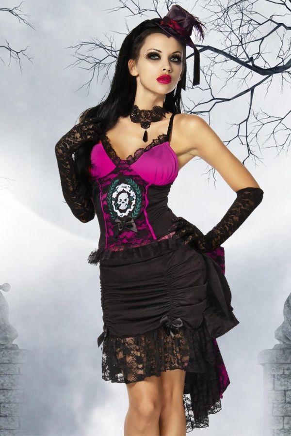 γυναικείο αποκριάτικο κοστούμι βρυκόλακα περιλαμβάνει φούστα τοπ διακοσμητικό άκρο μίνι καπέλο και στρινγκ μαύρο ροζ