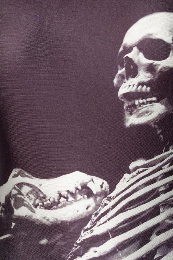 αποκριάτικο μεξικάνικο ελαστικό κορμάκι τύπωμα σκελετού μαύρο άσπρο