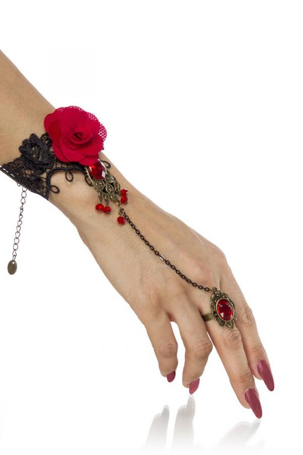 HAND ACCESSORY LACE BLACK RED AT1614341