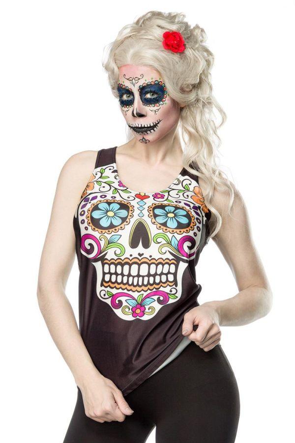 αποκριάτικο μεξικάνικο ελαστικό τόπ πολύχρωμο τύπωμα σκελετού μαύρο