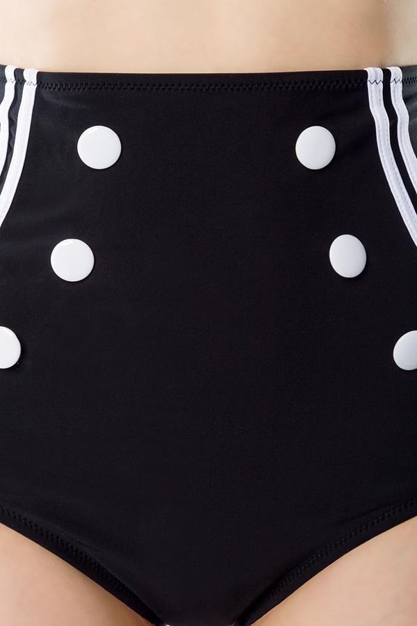 ψηλόμεσο vintage μπικίνι μαγιό ναυτικό στυλ ρυθμιζόμενο λουρί στον λαιμό διακοσμητικά κουμπιά μαύρο άσπρο
