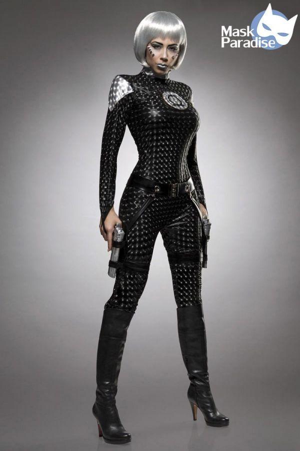 αποκριάτικη στολή-κοστούμι space fighter wetlook μαύρη.