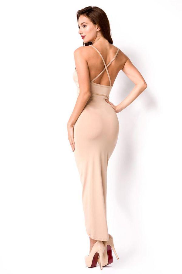 σούπερ εντυπωσιακό ασύμμετρο αμάνικο φόρεμα με χιαστί ιμάντες πίσω μπεζ