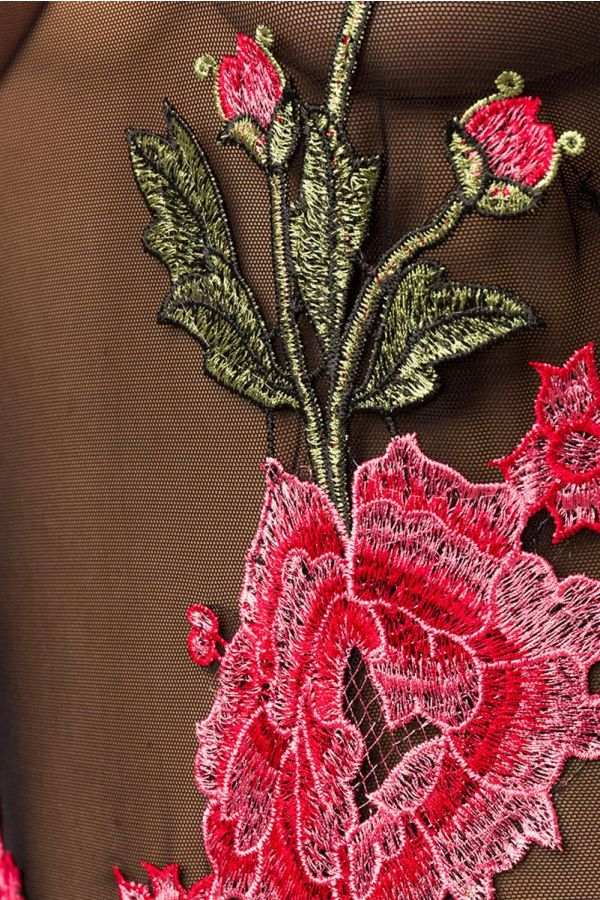 μαύρο κορμάκι διάφανο με σχέδιο λουλουδιών