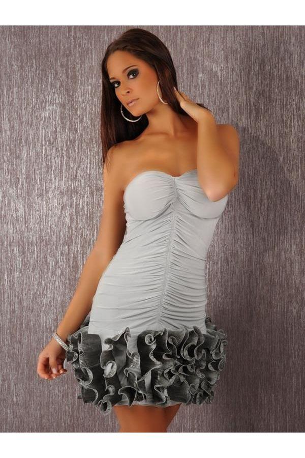 κοκτέιλ σατέν στράπλες μίνι φόρεμα γκρι