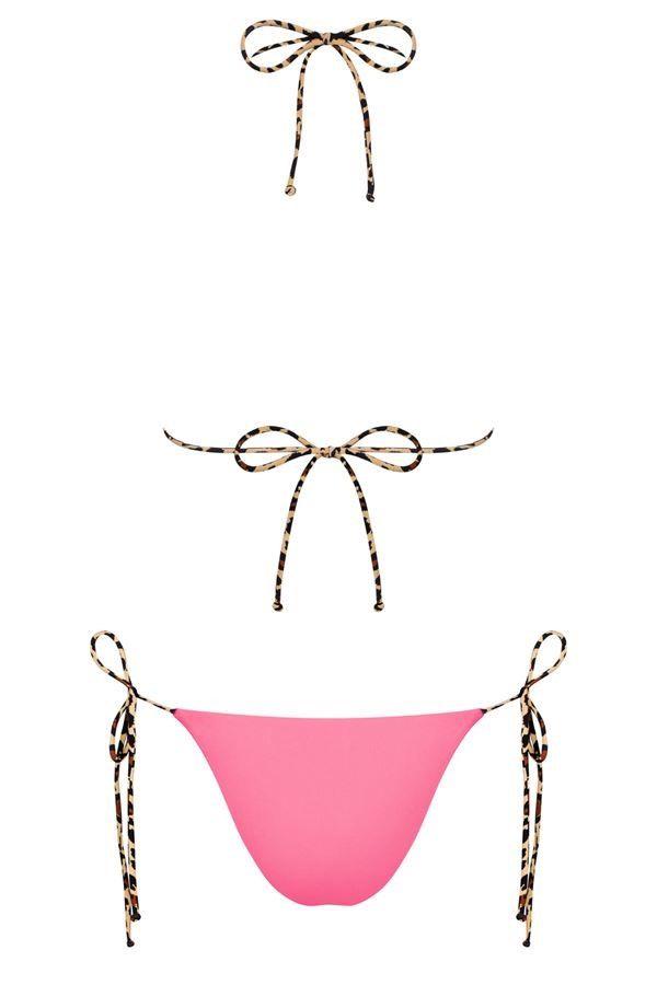 brazilian bikini swimsuit sexy double sidded coral leopard.