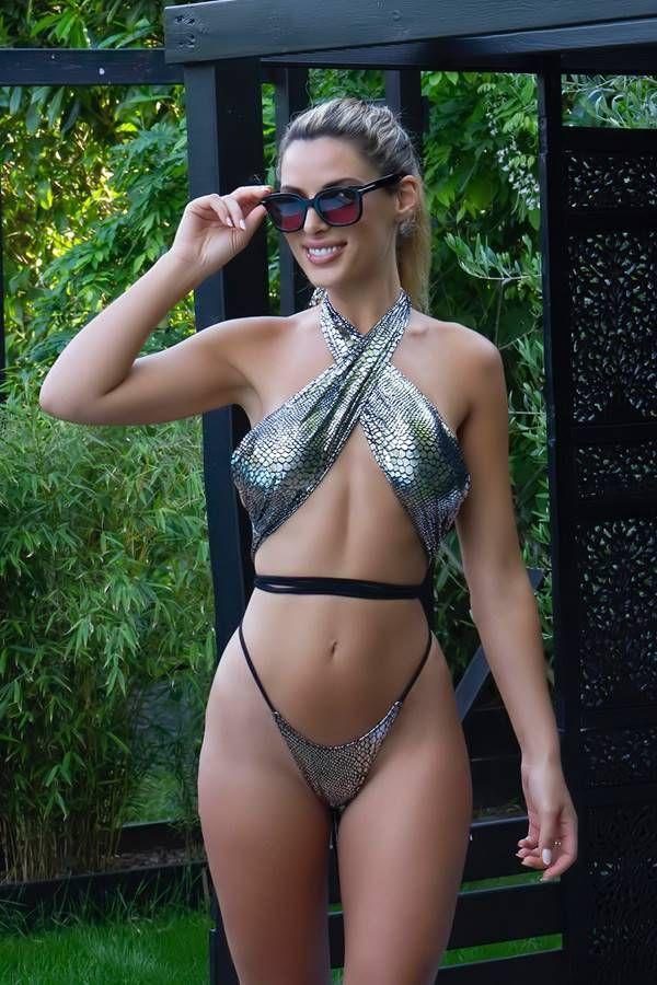 String Bikini Swimsuit Crossed Neck Snake Silver GTOSIB113A